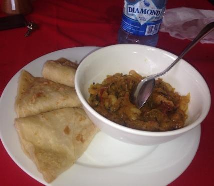 Curry Pumpkin w/ Shrimp and Roti